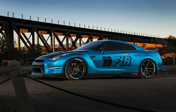 Картинка car, nissan, blue, gt-r, gtr, autowalls