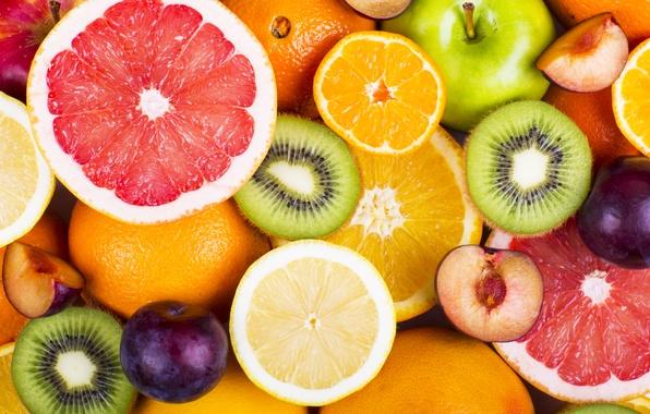 Картинка яблоки, апельсины, киви, фрукты, fresh, грейпфрут, fruits, berries