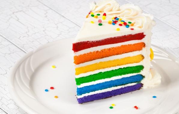 Картинка радуга, colorful, торт, rainbow, cake, Happy, День Рождения, Birthday