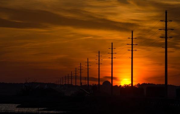 Картинка небо, солнце, закат, столбы, провода