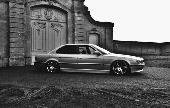 Картинка тюнинг, BMW, Бумер, БМВ, диски, stance, E38, 750il