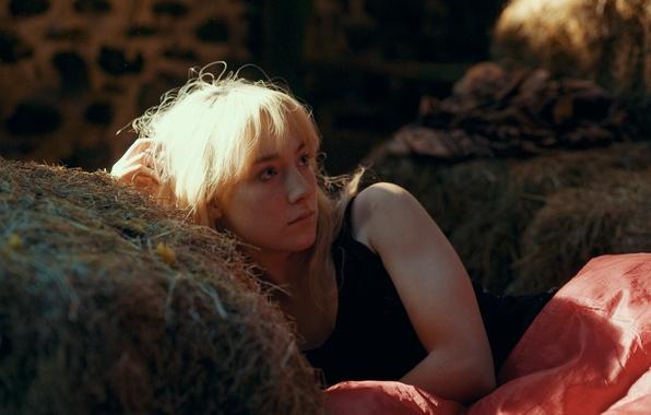 Картинка девушка, актриса, сарай, блондинка, сено, лежит, Saoirse Ronan, Сирша Ронан, How I Live Now