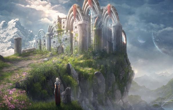 Картинка небо, скала, человек, меч, арт, фэнтази