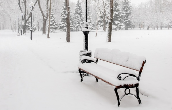 Картинка зима, снег, деревья, скамейка, природа, парк, лавочка, фонари, лавка, аллея, скамья