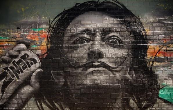 Картинка стена, картина, графити, Сальвадор Дали