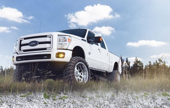 Картинка белый, небо, облака, Ford, внедорожник, white, форд, пикап, front, F-250