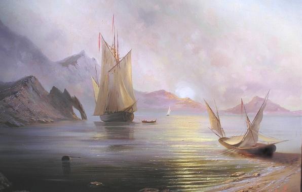 Картинка море, солнце, пейзаж, горы, рассвет, корабль, красота, лодки, парус, крым, Милюков Александр, Рассвет на море