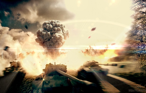 Картинка взрыв, тучи, огонь, дым, арт, танк, США, СССР, Америка, танки, WoT, World of Tanks, ИС-4, …