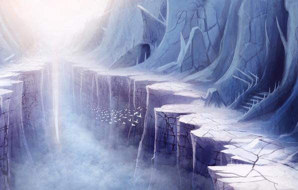 Картинка птицы, туман, скалы, арт, лестница, ущелье
