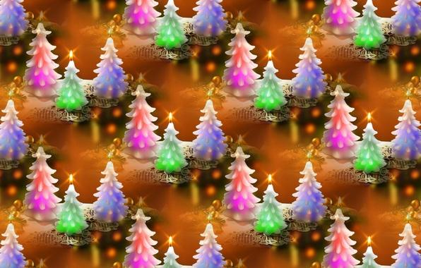 Картинка фон, праздник, свеча, текстура, Новый год, ёлочка
