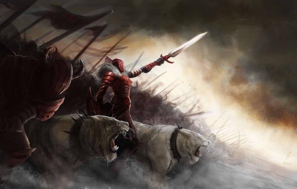 Картинка девушка, кошки, хищники, меч, армия, арт, шипы, монстры, ошейник, броня, щит, дикие, копья, знамёна