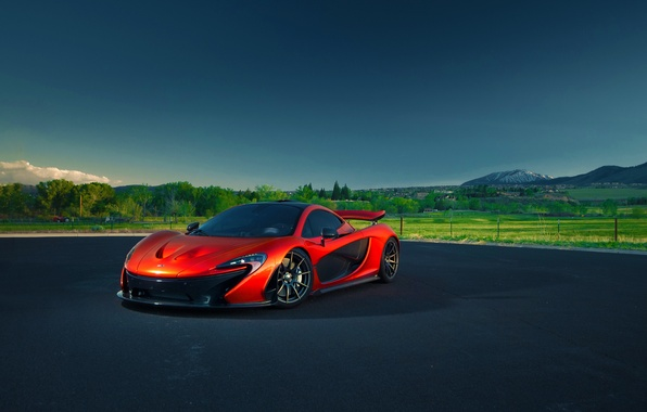 Картинка McLaren, Orange, Nature, Sky, Blue, Front, Summer, Supercar, Hypercar, Exotic