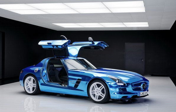 Картинка car, синий, двери, Мерседес, Mercedes, Benz, cars, AMG, SLS, blue, electric, drive, салон.