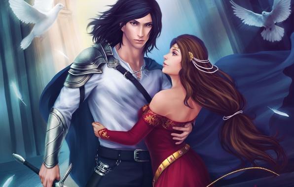 Картинка девушка, птицы, оружие, меч, парень, объятья, art, Zetsuai89, Guinevere, Lancelot