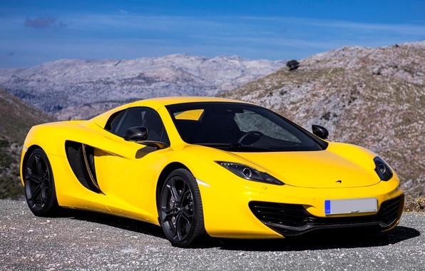Картинка McLaren, Желтый, Машина, Макларен, Car, 2012, Автомобиль, Spyder, MP4-12C, Wallpapers, Yellow, New, Красивая, Обоя, Спайдер