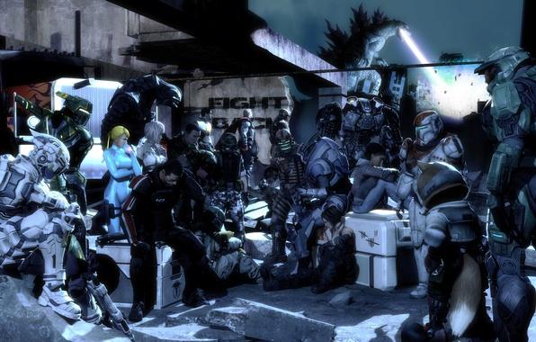 Картинка Halo, Dead Space, Lightning, Mass Effect, Godzilla, Shepard, Garrus Vakarian, Isaac Clarke, Trishka Novak, Samus …