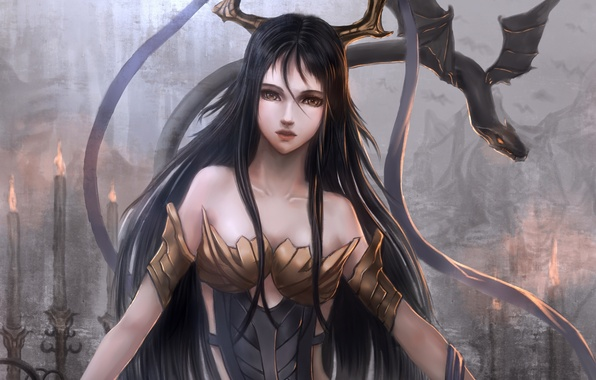 Картинка девушка, ленты, дракон, крылья, аниме, арт, рога, sunday-zjy