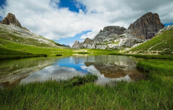 Картинка Italy, Mountain Lake, Dolomites