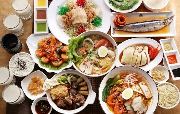 Картинка рис, морепродукты, японская кухня, блюда, ассорти, соусы
