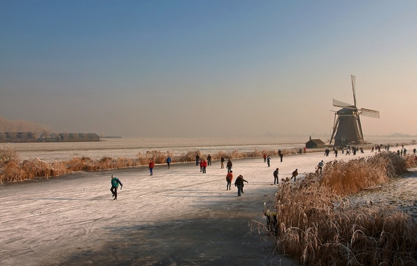 Картинка лед, зима, река, мельница, каток, Голландия