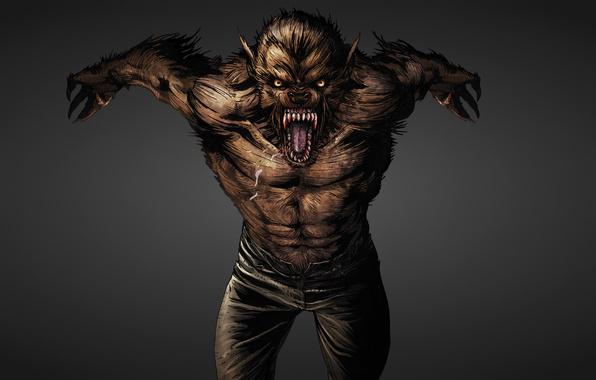Картинка темный фон, волк, оборотень, рычит, wolf, werewolf
