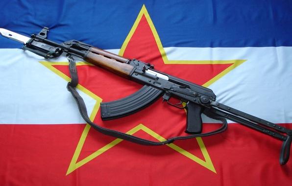 Обои оружие звезда флаг автомат штык нож Югославия