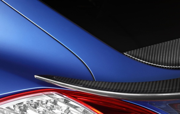 Картинка макро, синий, тюнинг, Porsche, Panamera, GTR, фонарь, спойлер, Порше, вид сзади, tuning, Stingray, TopCar, Панамера