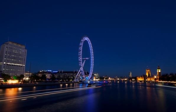 Картинка огни, Англия, Лондон, здания, вечер, подсветка, шоссе, Великобритания, архитектура, столица, London, England, London Eye, Great …