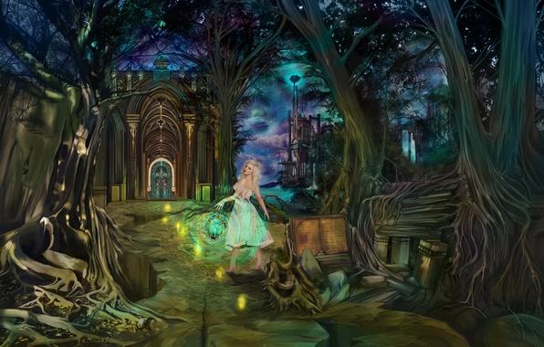 Картинка дорога, море, лес, небо, облака, деревья, горы, ночь, светлячки, замок, ветви, волшебство, магия, луна, планета, …