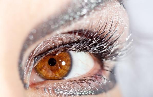 Картинка взгляд, девушка, макро, ресницы, блестки, тени