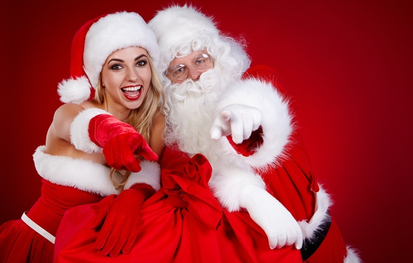 Картинка белый, радость, красный, настроение, праздник, наряд, Новый год, перчатки, шапки, Снегурочка, Дед мороз