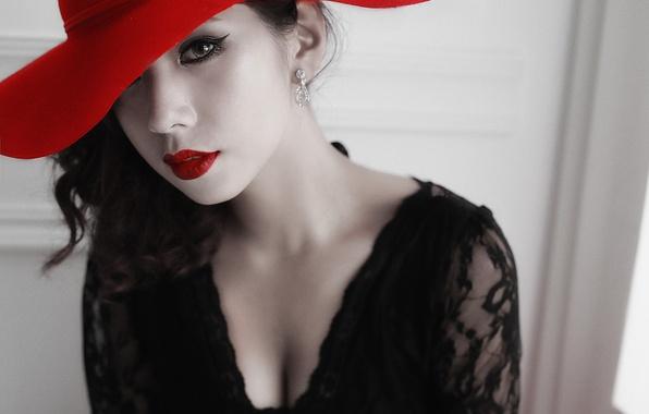 Картинка глаза, взгляд, девушка, лицо, стиль, шляпа, помада