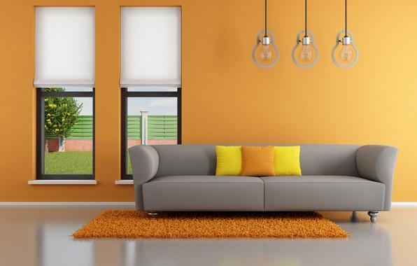 Картинка оранжевый, диван, интерьер, подушки, окно, orange, гостиная, window, living room, interior, couch, pillows, Minimalist, стильный …