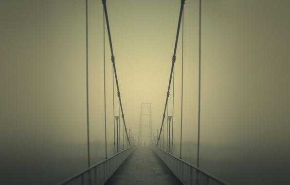 Картинка дорога, мост, туман