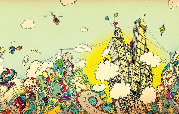 Картинка облака, город, краски, арт, Apostolescu, Matei