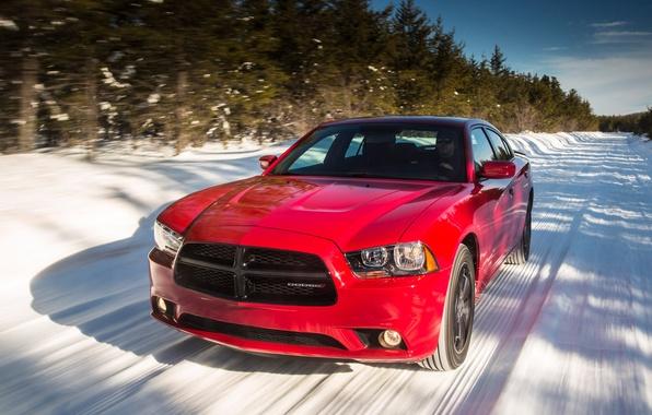 Картинка дорога, снег, Dodge, автомобиль, Charger, Sport, AWD