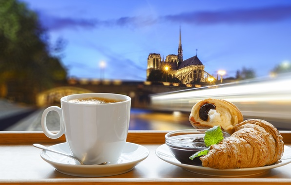 Картинка Париж, кофе, завтрак, Paris, cathedral, France, Notre Dame, cup, джем, coffee, croissant, breakfast, круассан