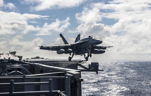 Картинка море, истребитель, взлет, Super Hornet, палубный, FA-18E