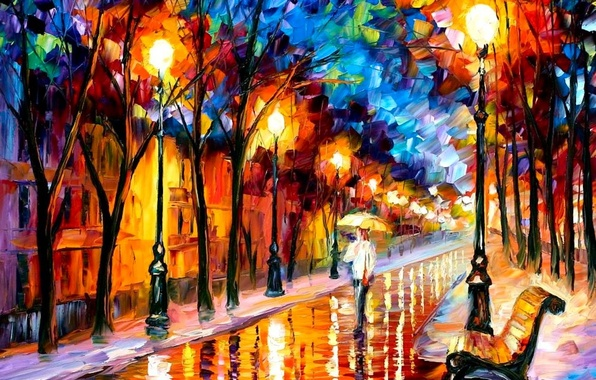 Фото обои дорога, скамейка, масло, картина, зонт, фонари