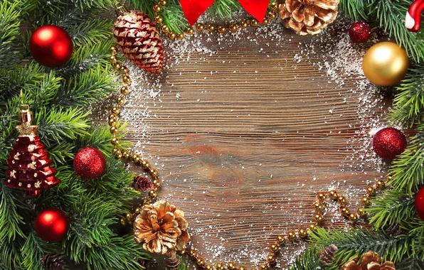 Картинка украшения, игрушки, Новый Год, Ветки, Шарики, Шишки, Праздники, Шаблон