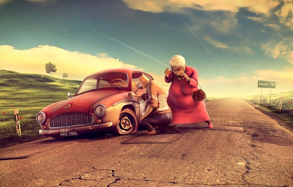 Картинка дорога, машина, трава, рендеринг, дерево, женщина, очки, мужчина, бабка, прокол, пугает
