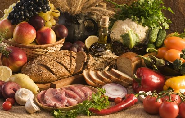 Картинка зелень, масло, хлеб, мясо, фрукты, овощи