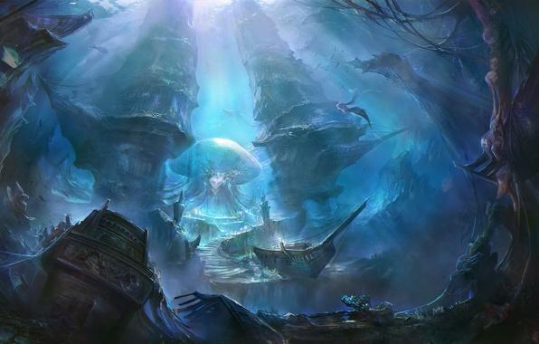 Картинка рыбы, корабли, остов, арт, ступеньки, руины, подводный мир, русалки, под водой, rongrong wang, rong rong, ...