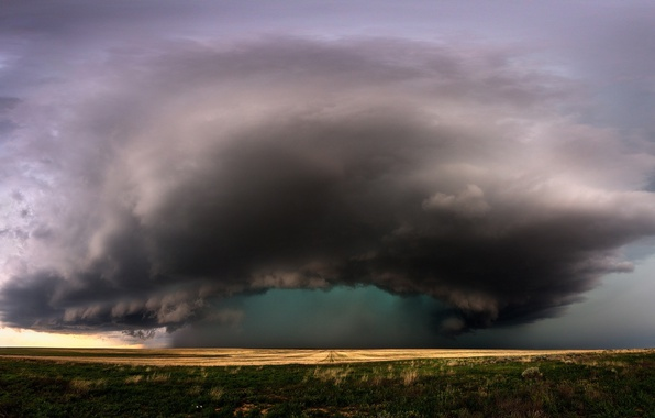 Картинка поле, небо, облака, тучи, циклон