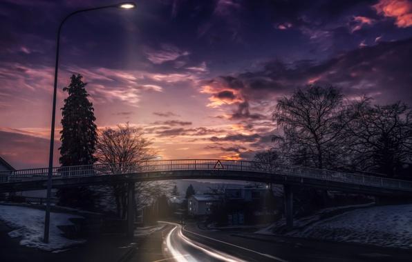 Картинка дорога, небо, облака, пейзаж, закат, мост, природа