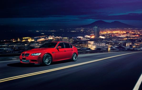 Картинка город, BMW, горизонт, red, front, Sedan, E90, Ronaldo Stewart