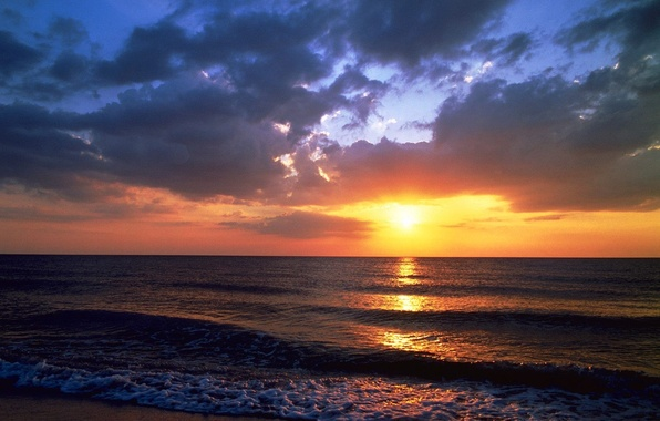 Картинка Закат, Море, Пляж