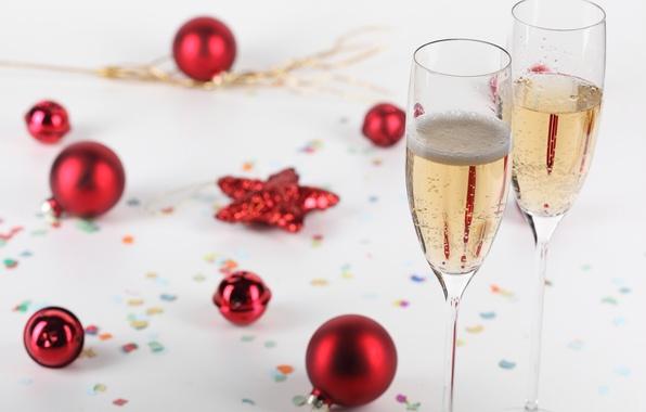 Картинка шарики, украшения, праздник, Новый Год, Рождество, Christmas, happy new year, New Year, glasses, champagne