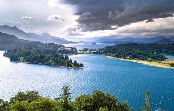 Картинка горы, озеро, панорама, леса, Argentina, Аргентина, Patagonia, Патагония, озеро Науэль-Уапи, Nahuel Huapi Lake