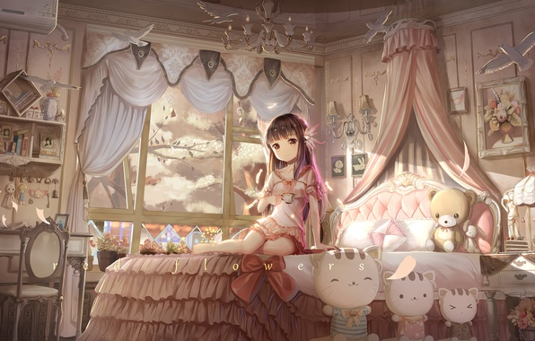 Картинка девушка, деревья, улыбка, комната, игрушки, кровать, аниме, сакура, арт, red flowers